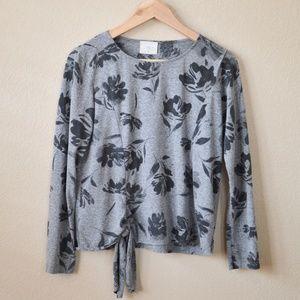 Anthropologie t.la floral waist tie blouse